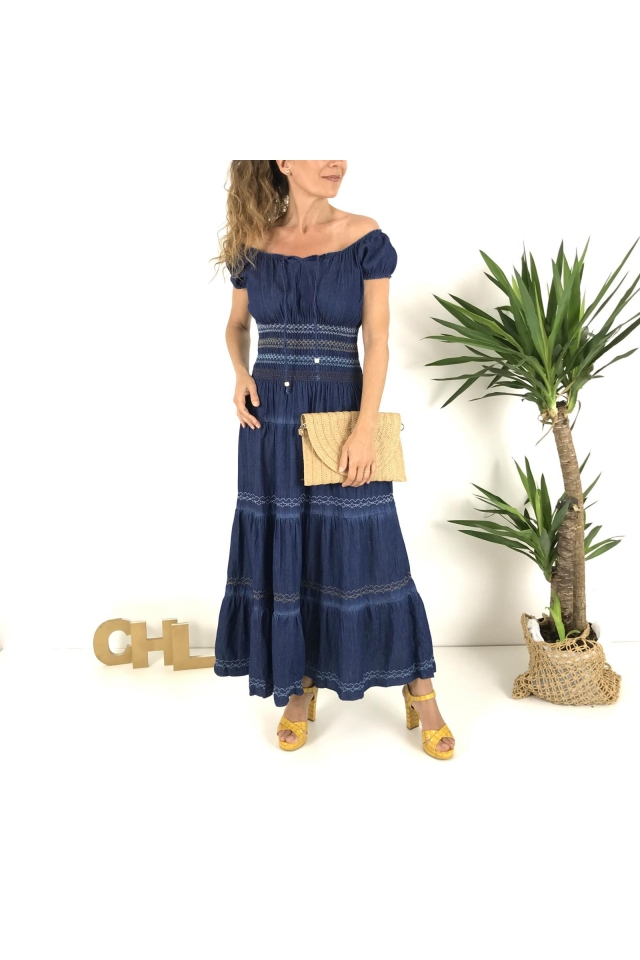 Vestido largo denim FRIDA